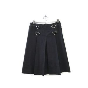 TORY BURCH Gray Wool buckle leather Pleated skirt